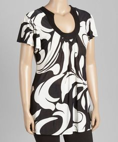 Look what I found on #zulily! Black & White Wisp U-Neck Top - Plus by 24/7 #zulilyfinds