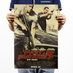 Fast & Furious 5 Vintage Paul Walker Vin Diesel Movie Poster  #fastandfurious #paulwalker #vindiesel