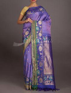Nandana Blooming Flowers On Bel Pure #GadwalSilkSaree