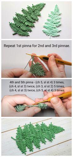Appliques Au Crochet, Crochet Leaf Patterns, Crochet Leaves, Thread Crochet, Crochet Motif, Diy Crochet, Crochet Crafts, Crochet Flowers, Crochet Stitches