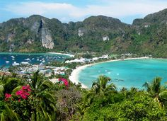 Phi Phi Don Viewpoint. A steep hike, but Wikitravel says it only takes 10 - 25 minutes, depending on one's fitness level. Breathtaking views of the entire island, here you see the strip of sand that separates the two main parts of the island.