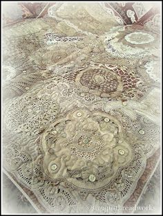 "A lace and doily quilt from ""Suziqu's Threadworks"" blog. If you like old lacy things, be sure to visit her blog.  Beautiful!"