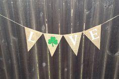 St. Patricks day banner love banner burlap banner shamrock irish decor decorations photo prop on Etsy, $12.00
