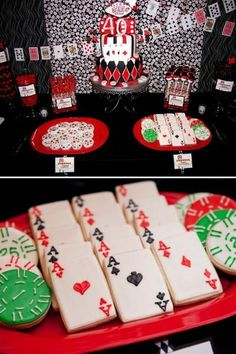 Las Vegas Themed Party. LOVE the poker chip shaped cookies. OMG.