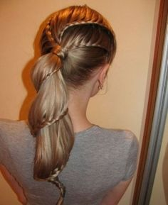 Braided hair into ponytail