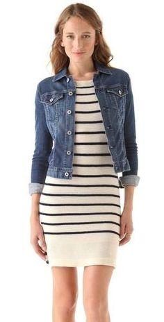 striped dress with jean jacket
