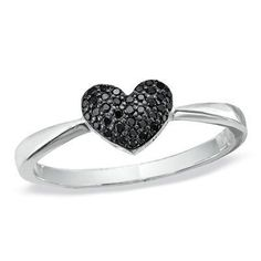 Idée et inspiration Bijoux :   Image   Description   1/8 CT. T.W Enhanced Black Diamond Heart Ring in Sterling Silver – Zales