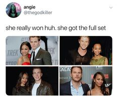 Zoe Saldana was with Pine in the Star Trek trilogy; Hemsworth in Avengers: Infinity War; Evans in The Losers; and with Pratt in Guardians of the Galaxy (volumes 1 and Avengers Memes, Marvel Memes, Marvel Dc Comics, Marvel Avengers, Zoe Saldana, Dc Memes, Funny Memes, X Men, Marvel Actors