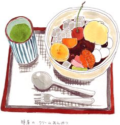 イラスト あんみつ Japanese Deserts, Japanese Food Art, Watercolor Food, Watercolor Illustration, Sushi Co, Ice Cream Art, Chibi Food, Food Painting, Food Icons