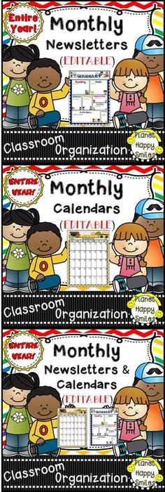 EDITABLE Entire Year: Calendar & Newsletters! Great for communication with parents! Classroom Tested & Teacher Approved! Buy the Bundle and Save Money!