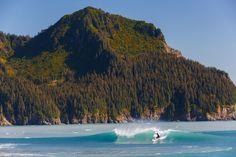 Picture of a surfer surfing Bear Glacier, Kenai Fjords National Park Parc National, National Parks, Kenai Fjords, Adventure Activities, Surfing, United States, Bear, River, Landscape