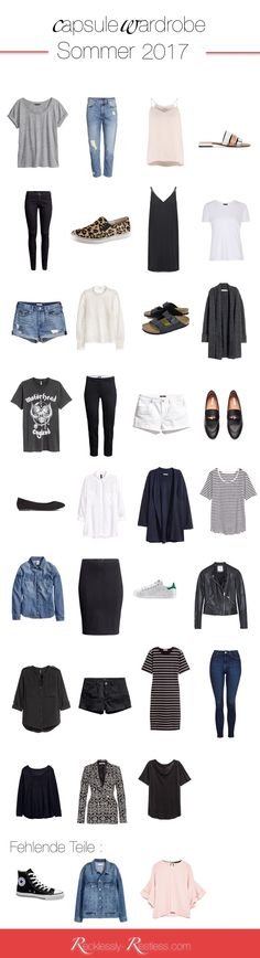 Sommer Capsule Wardrobe 2017 - Another! Capsule Wardrobe Mom, Capsule Outfits, Fashion Capsule, Summer Wardrobe, French Minimalist Wardrobe, Minimal Wardrobe, Outfit 2017, Up Girl, Wardrobes