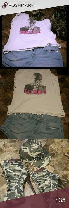 2pac custom shirt XL soft denim shorts sz11 2pac custom shirt XL soft denim shorts sz11 Other