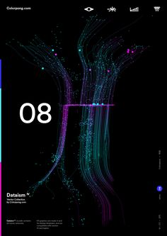 Colorpong.com - Dataism IV - Vector Bundle on Behance Web Ui Design, Web Design Trends, Graphic Design Posters, Graphic Design Inspiration, Technology Posters, Presentation Styles, Neon Backgrounds, Creative Posters, Data Visualization