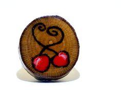 Cherry Wood Burned Ring Sycamore Tree Slice Boho by LadyDryad, $14.30