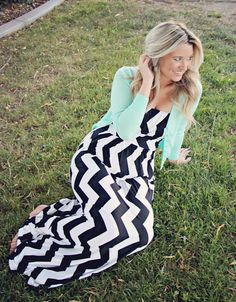 chevron dress. mint cardigan
