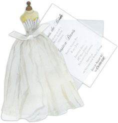 Bridal Gown with Pearls Die-Cut Invitations