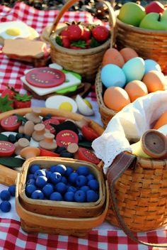 very cool wooden food   Wooden Play Food: 8 Strawberries. $16.00, via Etsy.: