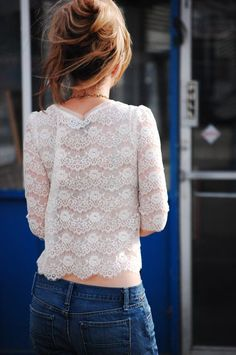 White lace + jeans.