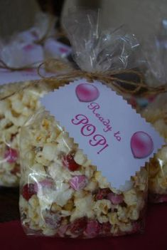 Ready to Pop Baby Shower Party Favor. Popcorn in a clear cellophane bag with a cute tag!   PIN FROM: http://www.readycart.com/ready-cart/ready-pop-baby-shower-party-favor