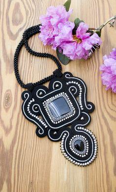 Black soutache necklace pendant,