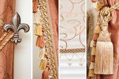 Love rich fabrics, tassel trim, tassels and fleur de lis tie backs