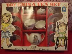 Vintage 60s/70s Toy China Tea Set In by OutrageousVintagious, $20.00