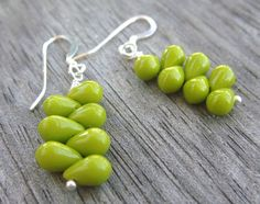 Chartreuse Green Earrings with Sterling Silver Ear Hooks, Fall Fashion