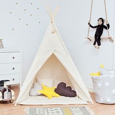 Teepee Kids Play Tent Tipi Natural Beige by FUNwithMUM on Etsy