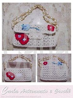 Crazy by arts - Handbags Filet Crochet, Crochet Tote, Crochet Cardigan, Knit Crochet, Crocheted Bags, Crochet Bag Tutorials, Crochet Projects, Hermes Bags, Tote Pattern