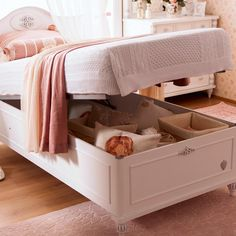 Girls white bedroom furniture add in a beautiful and serene theme. Kids bed with storage function designed in white theme injects serenity and organizational skills to a growing child's room. Kids Beds With Storage, Bench With Storage, Bed Storage, Pink Bedroom Decor, White Bedroom Furniture, Girls Bedroom, Fairytale Bedroom, Fairy Bedroom, Simple Living Room Decor