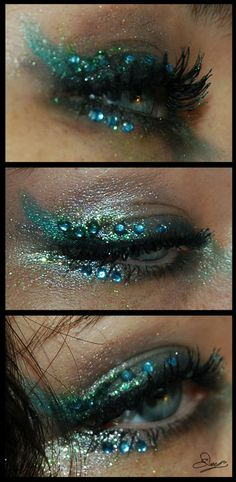 Mermaid eye Make-up. I would be so afraid to get the glitter in my eyes though, have you ever had that happen?! IT SUCKS.