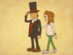 A picture of Professor Layton and Claire when you finish the game with all the puzzles solved. Awwwwww, so cute!