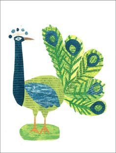 Peacock • paste greeting cards are printed on recycled paper with your choice of bright white or kraft recycled envelopes  • each card is size A2, 4.25 x 5.5 inches • order 12 or more cards = free shipping