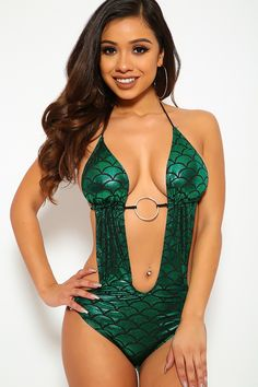 e9ecc5365d Buy Mermaid Green Metallic One Piece Monokini Swimsuit with discount price  and high quality One-