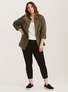 Olive Green Floral Embroidered Twill Shirt JacketOlive Green Floral  Embroidered Twill Shirt Jacket 0e73d9ca790