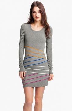 Long-sleeves Stripe Jersey Dress