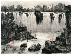 Colonial Landscape (Falls looking Upstream), Charcoal and pastel on paper, x cm ½ x 69 in). Diorama, Kathe Kollwitz, Charcoal Art, South African Artists, Ap Art, Process Art, Contemporary Landscape, Environmental Art, Design Art