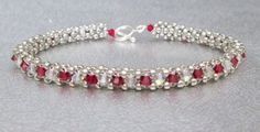 crystal beadwork bracelet red beaded bracelet silver by beadnurse