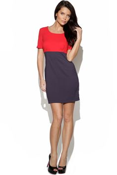 This simple shift dress gets a new season update with a colour block finish