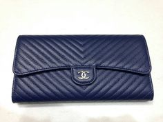 Chanel Navy Chevron Flap Wallet