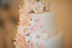 Wedding cake - romantic with flowers and butterflies.