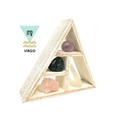 VIRGO CRYSTAL HEALING KIT Zodiac crystal healing sets consist of several uniquely paired stones that resonate strongly with each sign. Each set consists of natural crystals along with a small perfectly sized wooden shelf to display your crystals on a table, night stand, shelf, or desk.