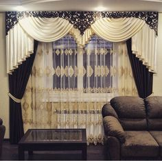 Plain polyester window curtain with attached valance for Bovindo francese