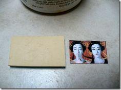 Image transfer onto polymer clay. Epson ink jet image printed on plain paper, Golden soft gel medium.