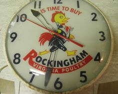 Rockingham Poultry Antique Clock  (Vintage Virginia Advertising Clocks, It is Time to Buy)