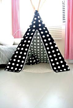 DIY kids teepee tent Black White Monochrome Polkadot