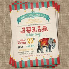 Vintage Circus Birthday Invitation Circus by freshlysqueezedcards, $13.00