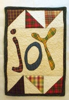 JOY 9 x 13 Primitive Quilted Sign by quiltingcafe on Etsy, $25.00
