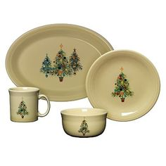 I'm a sucker for holiday ware. Usually, I go sleeker, but these Fiestaware trees are just so sweet and homey #tistheseason